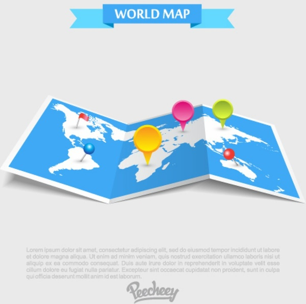 Travel map in perspective free vector in adobe illustrator ai travel map in perspective free vector 95334kb gumiabroncs Images