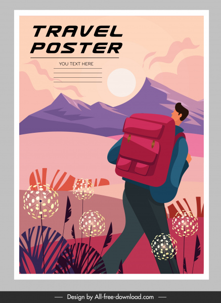 travel poster template colorful classical decor