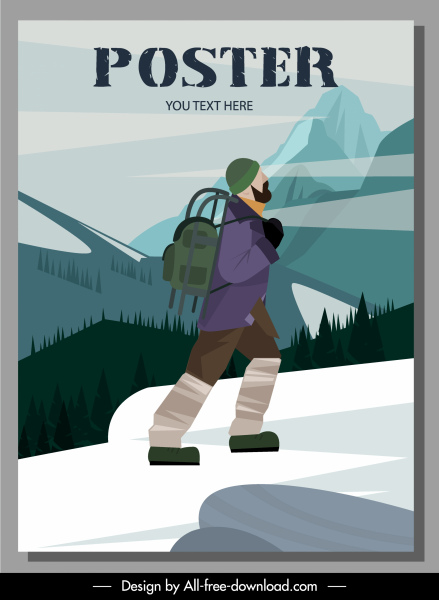travel poster template hiker mountain scene sketch
