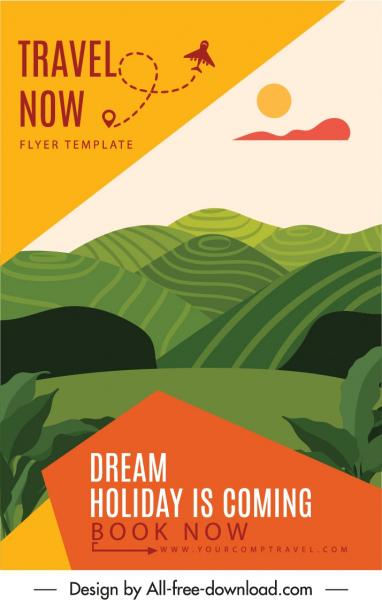 travel poster template mountain scene colorful classic design