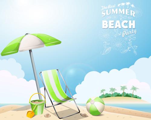 travel summer beach background set vector