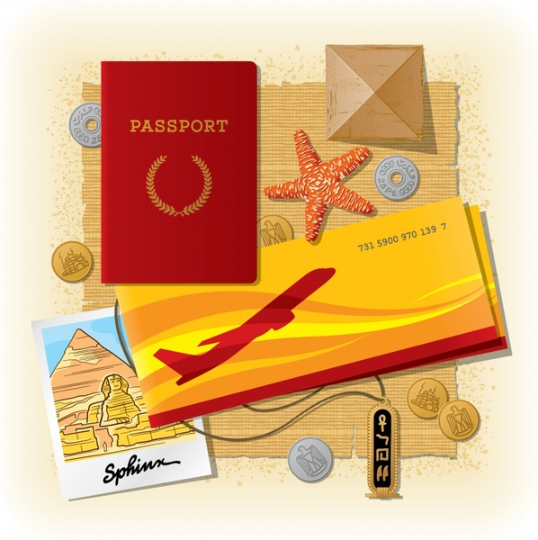 travel background passport ticket postcard coins starfish icons