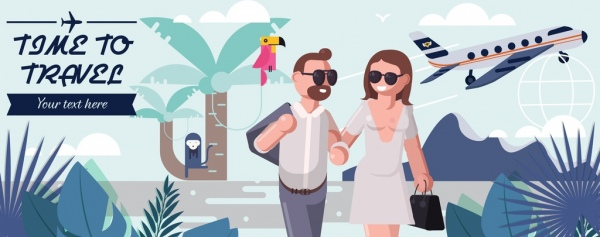 travel time banner happy couple airplane icons