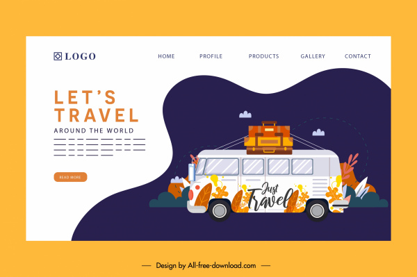 travel web site template classic bus luggages decor