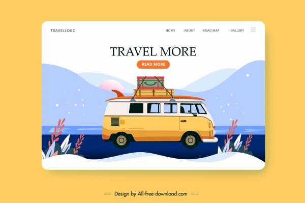 travel web template bus luggage mountain scene sketch