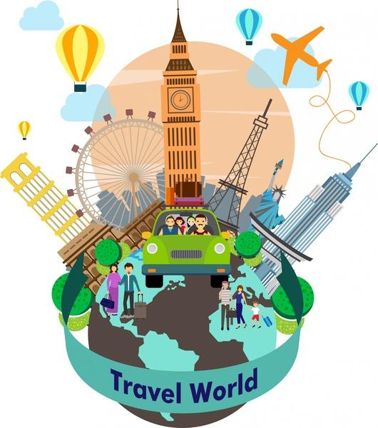 travel world background with famous symbols around planet