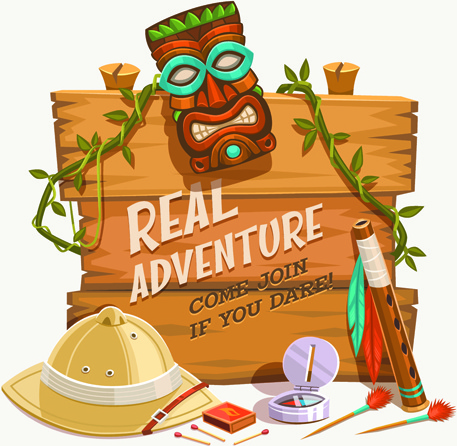 traveling with adventures vintage vector background