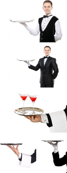 tray waiter gestures highdefinition picture