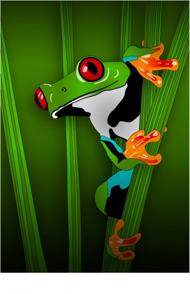 nature background green frog icon decor