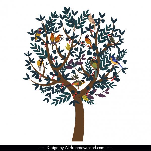 tree icon perching birds luxuriant leaves decor