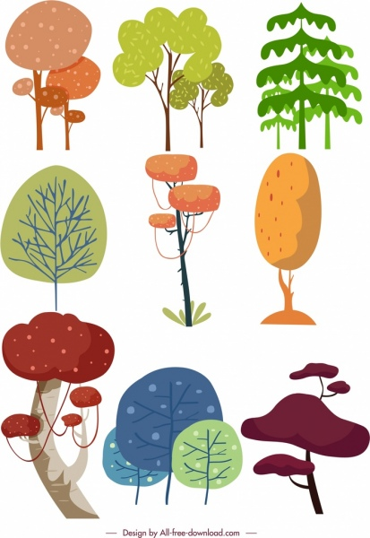tree icons collection colored classical design
