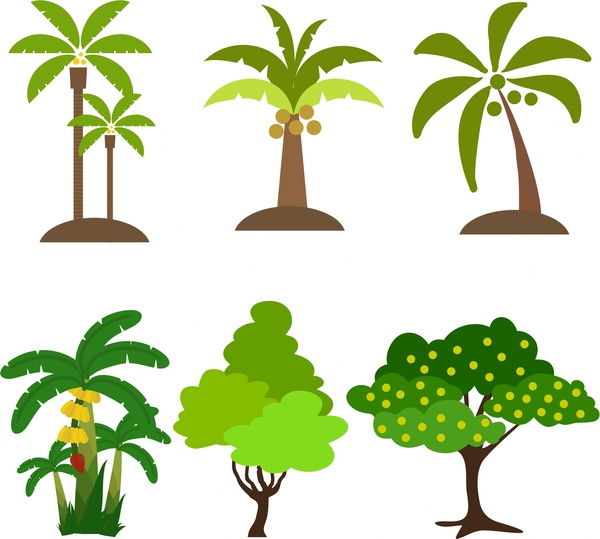 tree icons collection various types design