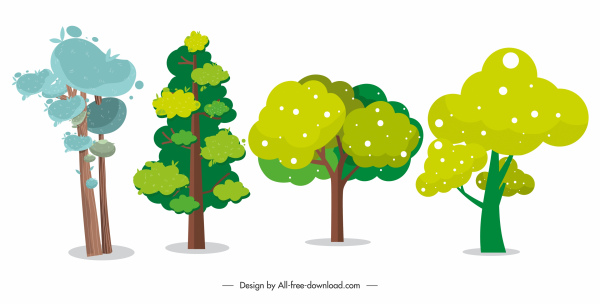 tree icons colored classical handdrawn design