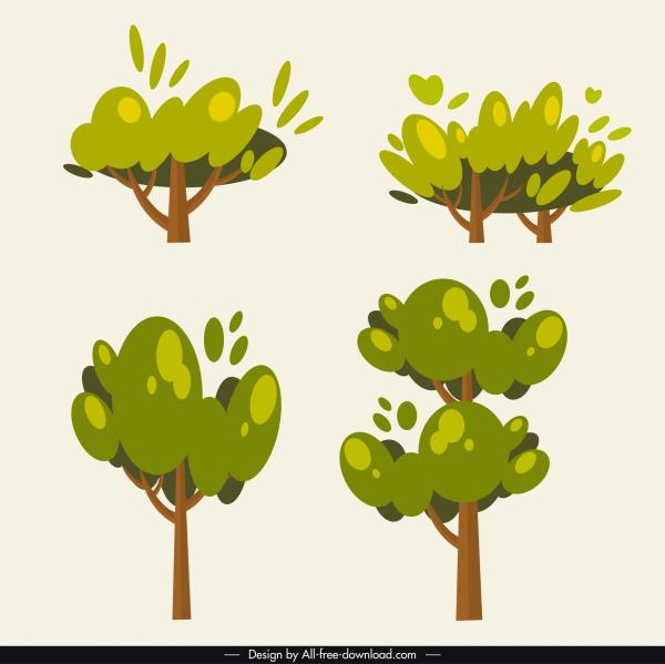 tree icons green classic flat handdrawn