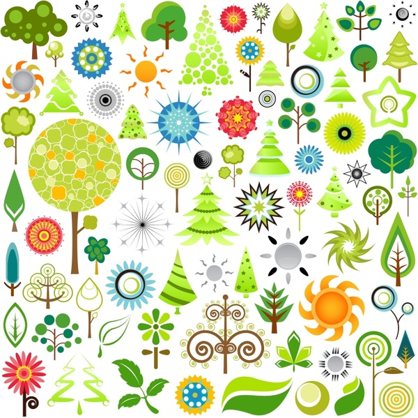 eco design elements tree sun icons colored flat