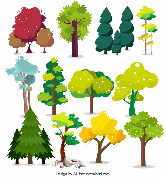 tree shapes icons colorful classical sketch