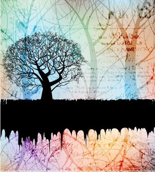 decorative background trees silhouette sketch grunge retro blurred