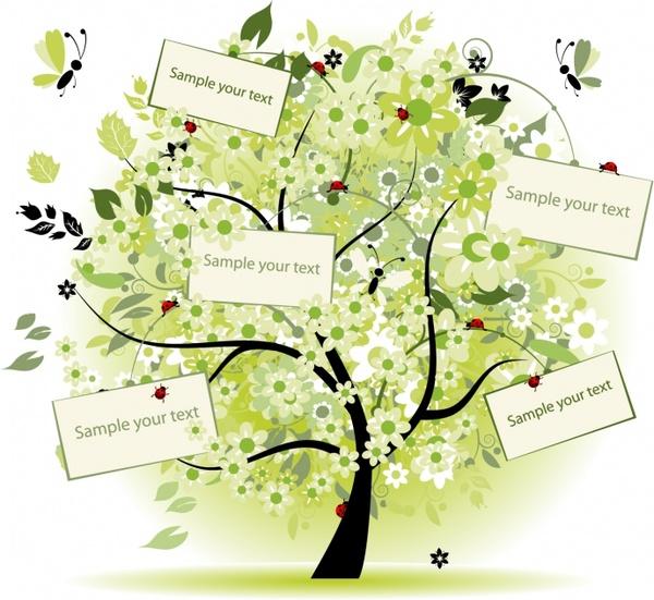 decorative tree background text boxes decor