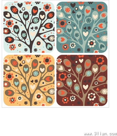 nature pattern templates blooming tree icon simple classical