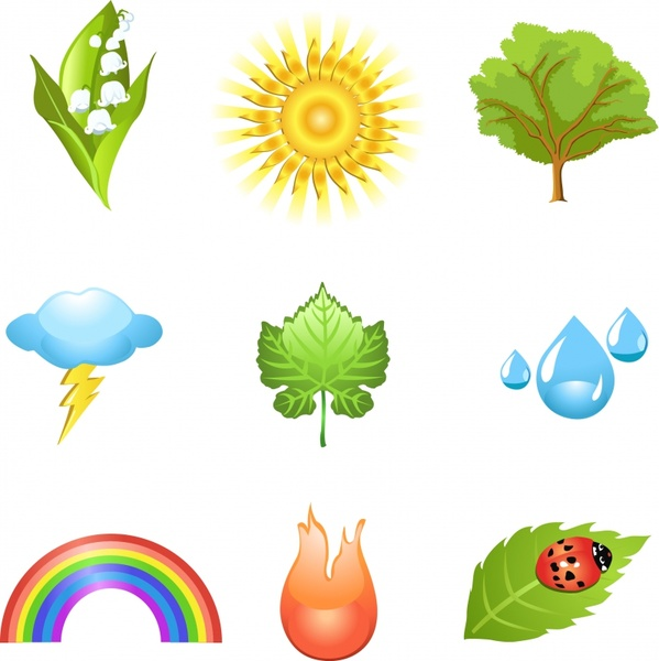 eco design elements plant weather insect icons