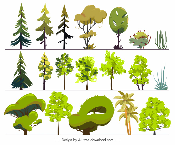 trees icons bright colored flat sketch