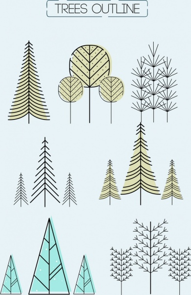 trees icons collection handdrawn lines outline