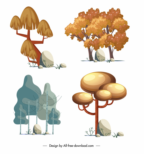 trees icons colored classic design handdrawn sketch