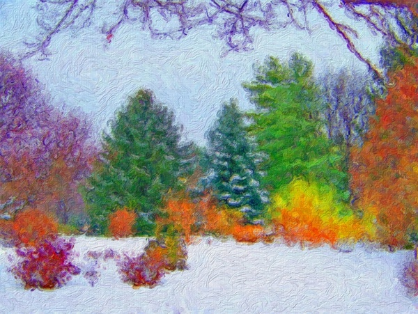 trees in the snow painting