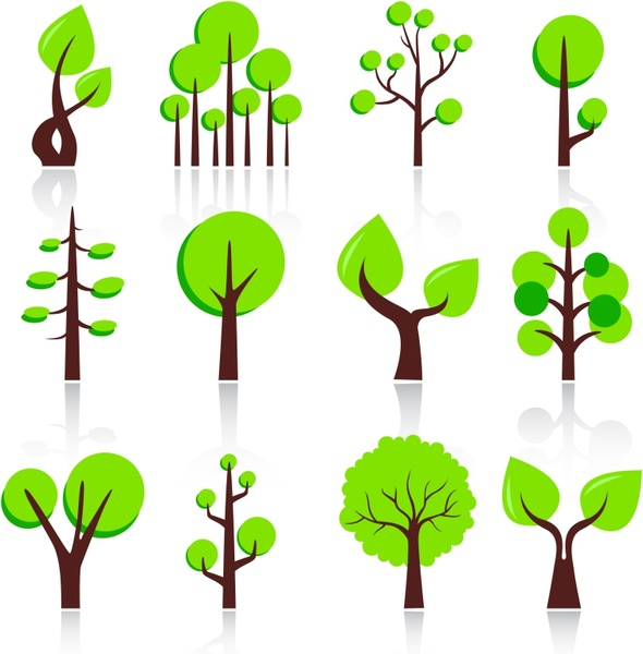 tree icons flat green shapes design