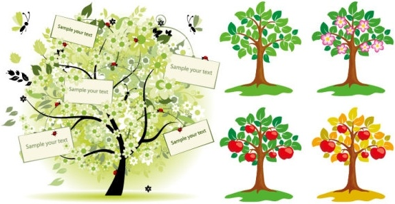 trees vector illustrations