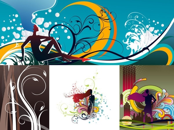 trend pattern and female silhouette vector