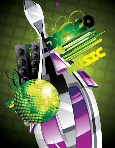 music poster colorful modern sphere ball speakers decor