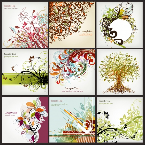 card templates collection flowers tree icons classical curves