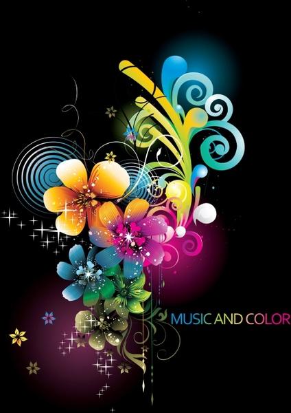 decorative background petals icons colorful sparkling decor