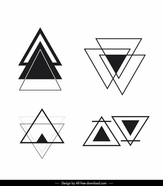 triangle tattoo template flat black white sketch