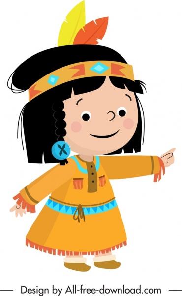 tribal girl icon cute cartoon character sketch