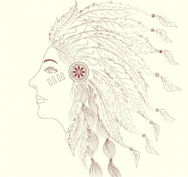 tribal human portrait handdrawn outline feather decoration