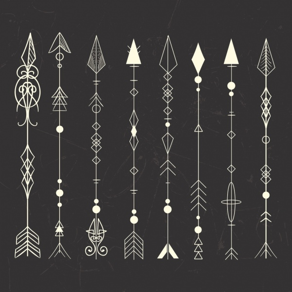 966685e2e Tribal tattoo design elements classical arrows icons Free vector 2.52MB