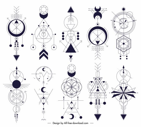 tribal tattoo templates classic flat symmetric geometric shapes