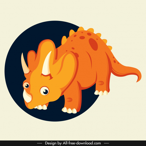 triceraptor dinaosaur icon cute cartoon character orange design