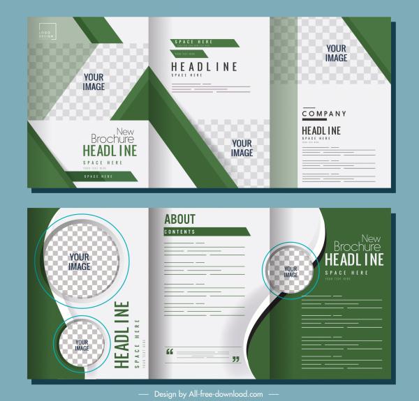 trifold brochure templates modern elegant green checkered decor