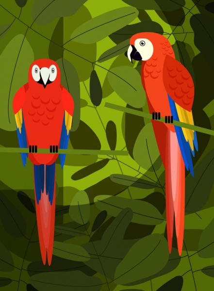 tropical background green leaves red parrots icons decor