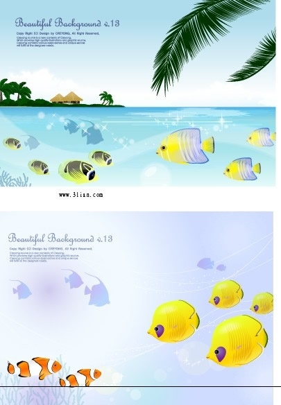 marine background sets fishes sea icons colorful cartoon