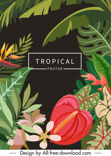 tropical nature background colorful design leaves flowers sketch