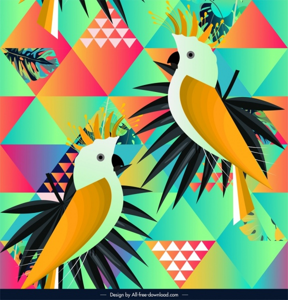 tropical parrots pattern colorful repeating geometric decor
