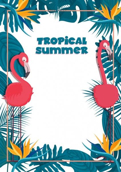 tropical summer banner template flamingo leaves border decor