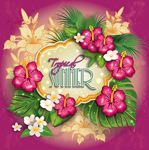 tropical summer flower frame background vector