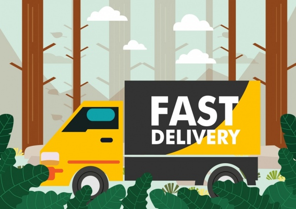 truck delivery advertising multicolored cartoon design