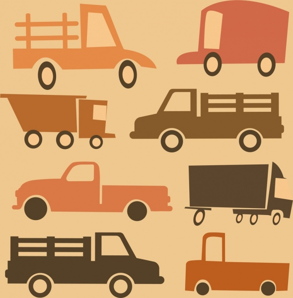 truck icons classical colored flat sketch