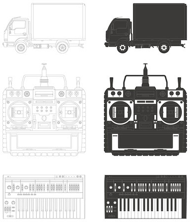trucks video recorder keyboard vector